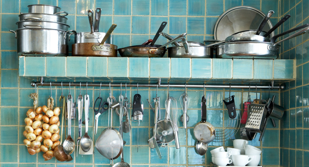 B7jrhj Turquoise Tiles Kitchen Utensils Equipment Image Shot